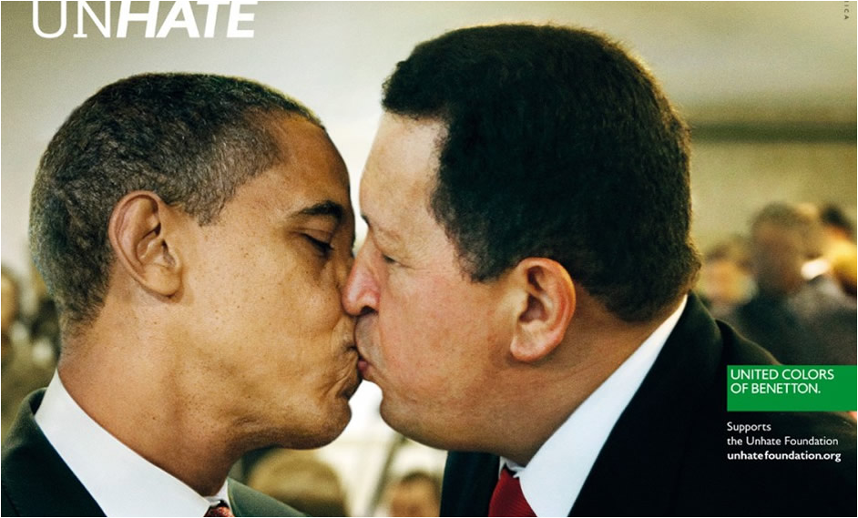 Beso Obama y Chavez